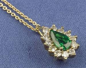 18kt Gold Emerald and Diamond Pendant Necklace Tiffany  Co