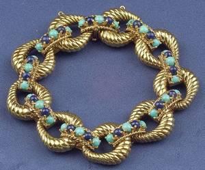 18kt Gold Lapis and Turquoise Bracelet Tiffany  Co