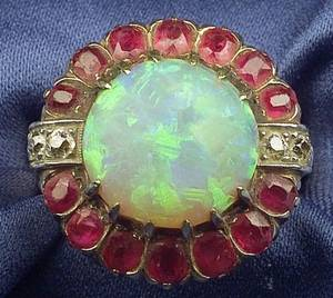 14kt Gold Opal Ruby and Diamond Ring