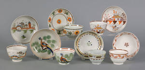 Six Leeds pearlware cups and saucers early 19th c