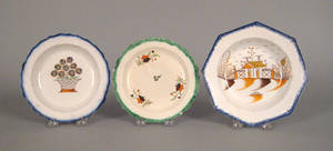 Three leeds feather edge plates 19th c
