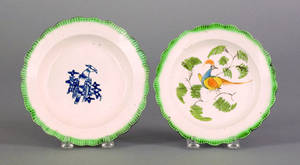 Two Leeds green feather edge plates 19th c