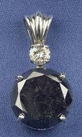 14kt White Gold Black Diamond and Diamond Pendant