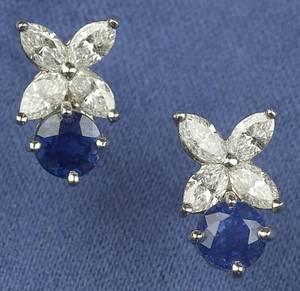 Platinum Sapphire and Diamond Victoria Earstuds Tiffany  Co