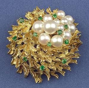 18kt Gold Cultured Pearl and Emerald Brooch Tiffany  Co