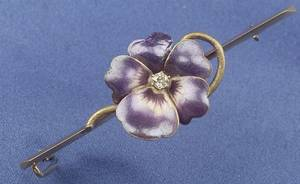 Art Nouveau 14kt Gold Enamel and Diamond Pansy Bar Pin