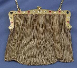 Antique 14kt Gold Diamond Sapphire and Ruby Mesh Purse Russia