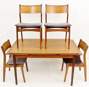 Scandinavian Modern Refractory Teak Table  Chairs