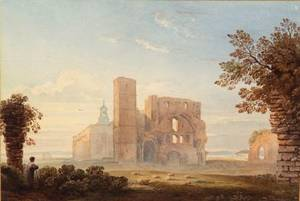 Attributed to John Varley British 17781842 Lindisfarne Abbey Holy Island