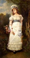 Attributed to James George McLellan Arnott British 19th Century Girl in White with Flowers