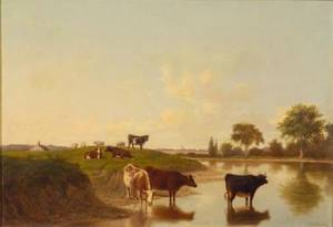 Thomas Hewes Hinckley American 18131896 Cattle Watering