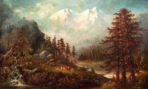 American School 19th Century River Landscape with Native Americans