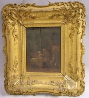 Framed Oil on Panel Interior Scene in the Manner of Blyth
