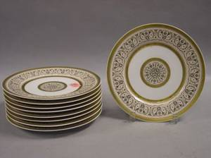 Set of Nine Limoges Porcelain Dessert Plates