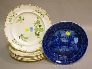 Set of Six Davenport Handpainted Floral Decorated Creamware Dinner Plates and a Wood  Sons Blue and White Historical Plate