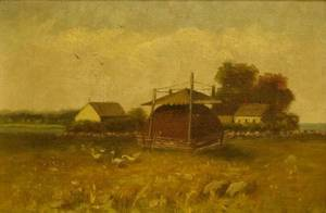 Framed Oil on Canvas Farm Scene with Haystack