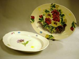 Meissen Handpainted Floral Decorated Porcelain Serving Platter and a Japanese Floral Decorated Ceramic Platter