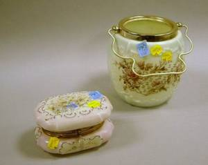 Wavecrest Giltmetal Mounted Enamel Floral Decorated Glass Lidded Box and a Victorian Transfer Decorated Glass Cracker Jar