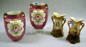 Pair of Austrian Ceramic Vases and a Pair of Gilt Floral Decorated Porcelain Vases