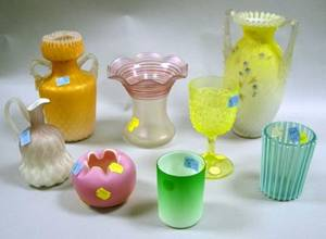 Eight Assorted Victorian Colored Art Glass Items