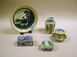 Asian Blue and White Decorated Porcelain Plate Inkwell Tea Caddy Cup and Saucer and a Salt