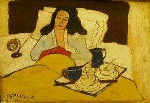 Framed Oil of Woman in Bed
