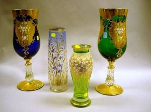 Pair of Italian Gilt and Enamel Floral Decorated Colored Glass Vases and Two Continental Enamel Decorated Colored Glass Vases