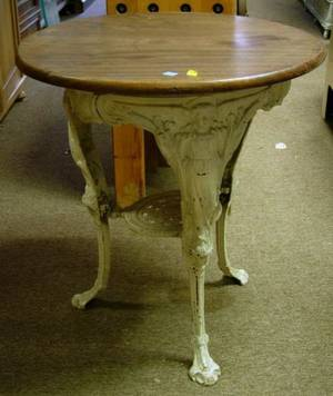 Victorian White Painted Cast Iron Pub Table