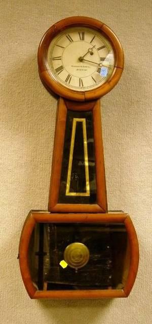 Howard  Davis Mahogany and ReversePainted Banjo Wall Timepiece