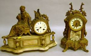 Waterbury Clock Co Louis XV Style Gilt Cast Metal Mantel Clock and a French Alabaster and Gilt Cast Metal Figural Mantel Clock