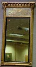 Classical Giltwood Tabernacle Mirror with Eglomise Tablet