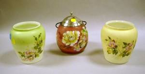 Pairpoint Silver Plate Mounted Poppy Decorated Glass Eggshaped Cracker Jar and Two Victorian Floral Decorated Art Glass Cracker Jars