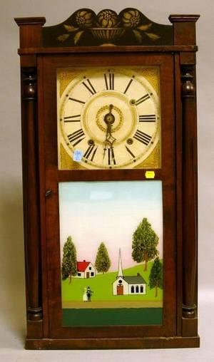 Jonathan Frost Stencil Decorated Ebonized and Mahogany Veneer Shelf Clock