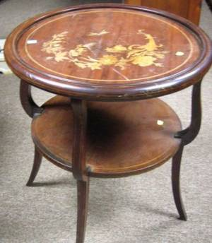 Regencystyle Inlaid Mahogany TwoTier Table
