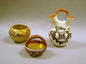 Native American Acoma Paint Decorated Pottery Wedding Vase a Bowl and a Handled Bowl