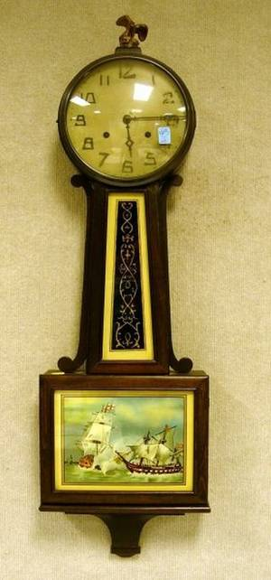 New Haven Clock Co Mahoganyfinished Banjo Wall Clock