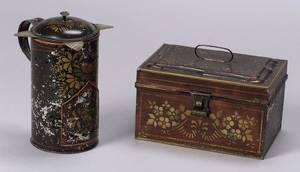 Stencil Decorated Tin Trunk and a Milk Warmer