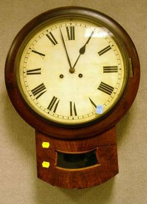 Walnut and Burl Walnut Veneer Schoolhouse Wall Clock