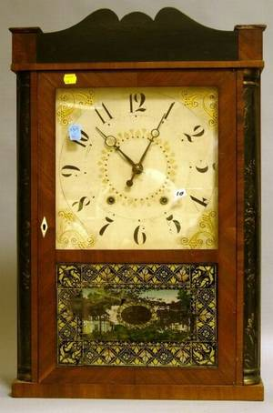 Eli Terry Jr Stencil Decorated Ebonized and Mahogany Veneer Shelf Clock with ReversePainted Stencil Decorated Glass Tablet