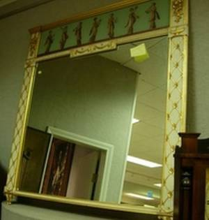 Neoclassical Painted and Giltwood Overmantel Mirror with ReversePainted Panel