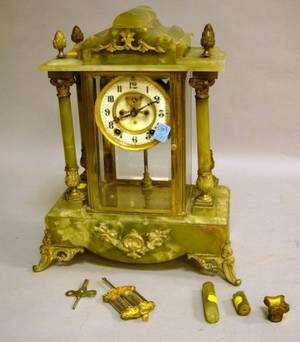 Ansonia Clock Co Frenchstyle Gilt Brass Mounted Green Onyx Mantel Clock