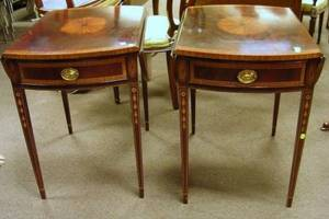 Pair of Councill Craftsmen Georgianstyle Inlaid Mahogany Veneer OneDrawer Stands