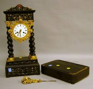 French Black Lacquer Boulle Portico Mantel Clock