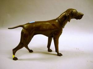 Jennings Bros Patinated Cast Metal Pointer Dog Figure