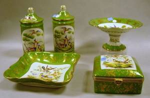 FivePiece French Gilt and Handpainted Bird Decorated Porcelain Console Set
