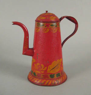 Pennsylvania red tole decorated coffee pot mid 19th c