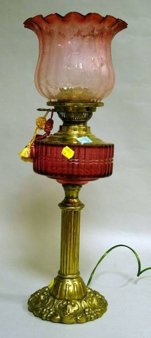 Cranberry Glass and Ormolu Oil Lamp with Etched Glass Shade