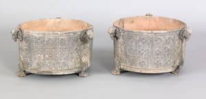 Pair of cast lead garden urns 19th c
