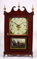 Federal Mahogany and Mahogany Veneer Pillar and Scroll Mantel Clock