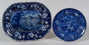 Historical Boston Almshouse Blue Transfer Decorated Staffordshire Platter and a Plate